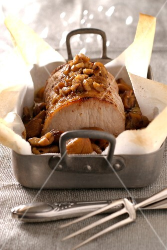 Caramelized pork roast with chestnuts