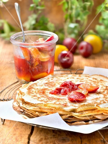 Crêpes with stewed plums