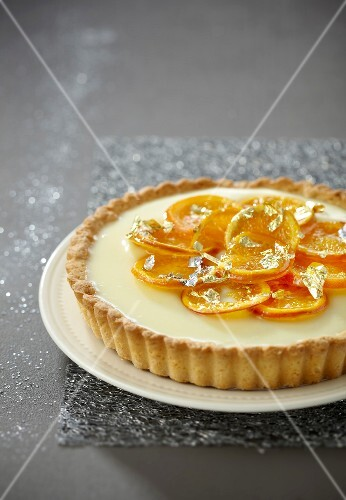 Confit mandarin and white chocolate pie
