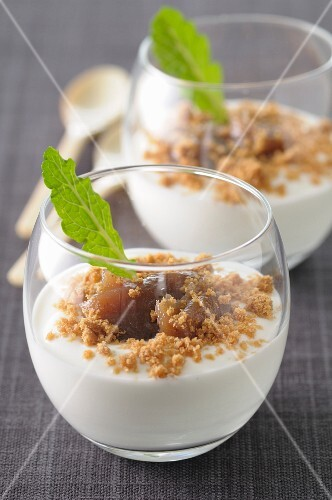 Panacotta with chestnut cream and crushed speculos ginger biscuits