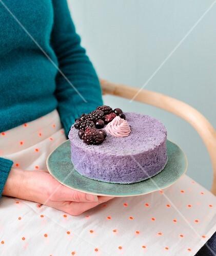 Blackberry angel cake
