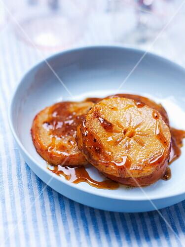 Golden kakis in spicy honey