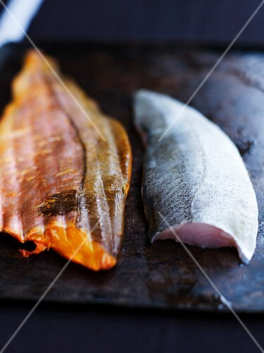 Fillet of fresh and fillet of smoked haddock