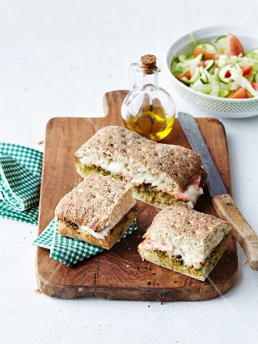 Pesto,ham and mozzarella sandwich