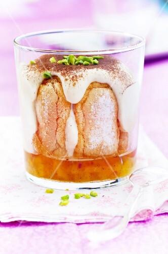 Peach jelly tiramisu