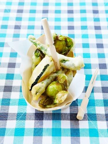 Green vegetable tempuras