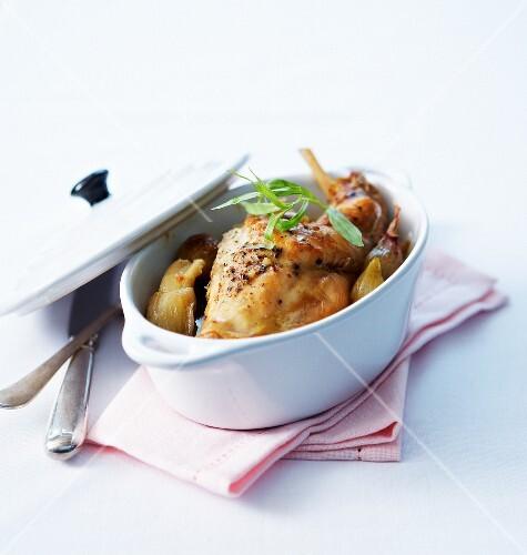 Rabbit,shallot and tarragon casserole