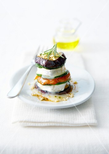 Tian-style vegetable and goat's cheese Mille-feuille with pine nuts