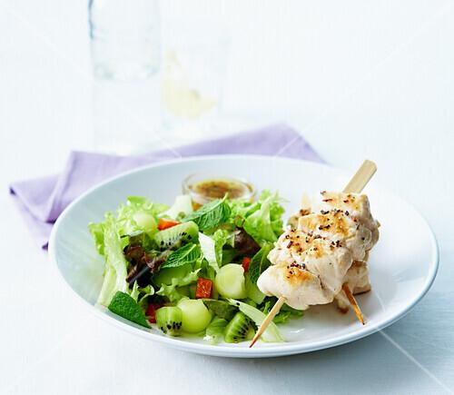 Chicken Yakitoris ,all green kiwi,honeydew melon and mint salad