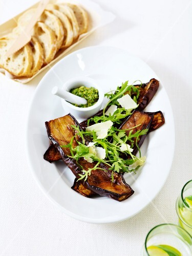Grilled eggplants,rocket lettuce with parmesan and pistou