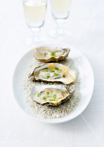 Oysters grilled with Comté cheese and chives