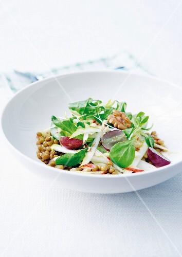 Lentil, apple, grape and walnut salad