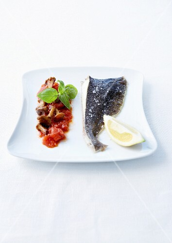 John dory steamed with sea salt, stewed tomatoes with chanterelles