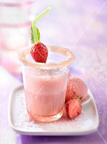 Strawberry milkshake and ice cream