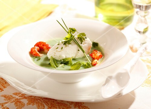 Herb gazpacho with crayfish and cream cheese quenelle