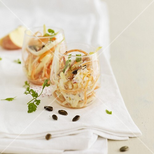 Carrot, white cabbage, apple and squash seed salad
