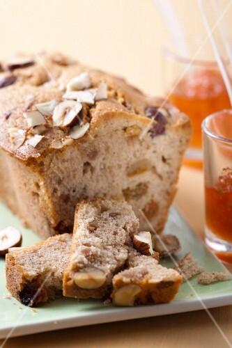Hazelnut and grape loaf cake
