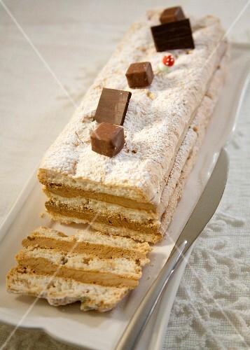 Coffee meringue log cake