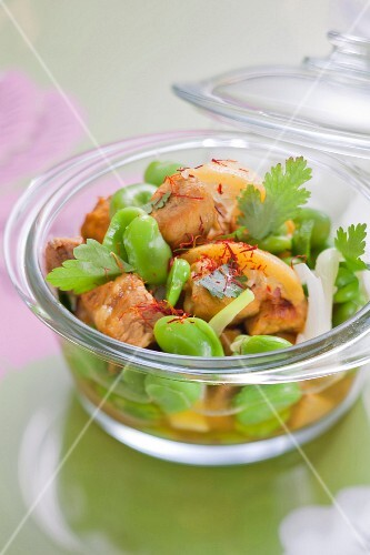 Veal, confit citrus, broad bean and saffron Tajine