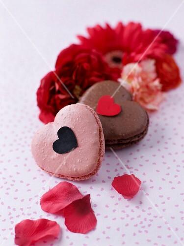 Macaroon- style strawberry and chocolate heats