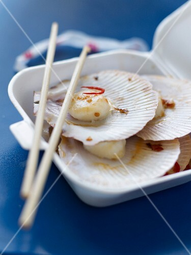 Scallops withhot red pepper