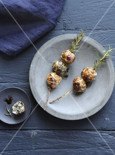 Mini Caillette and rosemary brochettes