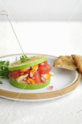 Grapefruit and Smoked haddock green apple burger