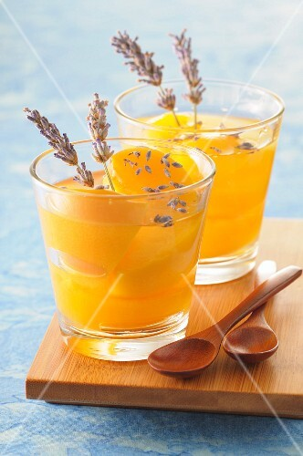 Peaches in lavander-flavored syrup