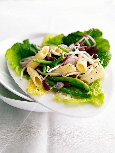 Penne, green bean, red kidney bean and beansprout salad served in cabbge leaves
