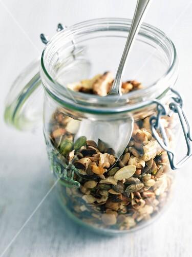 Jar of roasted seeds