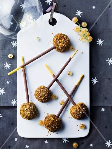 Mikado and praline truffle pops