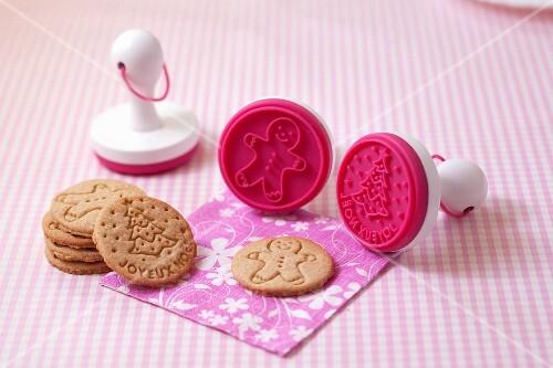 Cinnamon cookies stamped with men