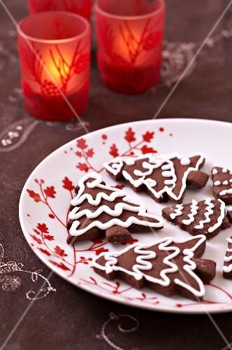 Chocolate Christmas tree cookies