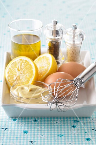 Ingredients for homemade mayonnaise