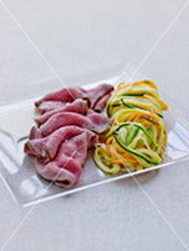 Roast Charolais beef,taglierinis and thinly sliced vegetables and savoury
