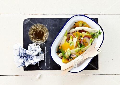 Fennel,onion and citrus fruit salad