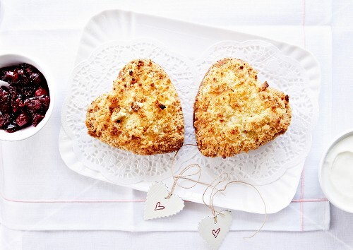 Heart shaped New Year cookies with crumbles