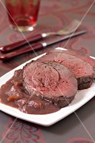 Roast doe with Grand veneur sauce