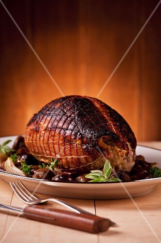 Thick round pork fillet stuffed with chestnuts