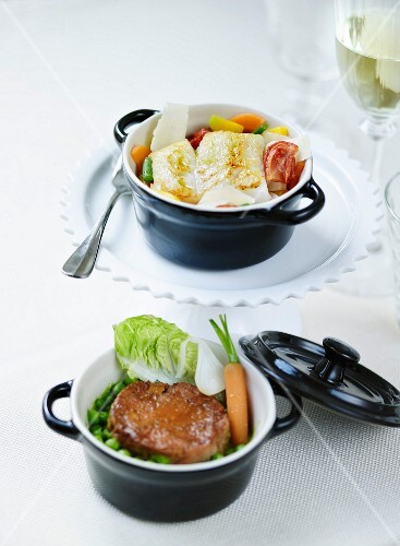 Minestrone-style cod casserole and stewed lamb,pea and thyme casserole