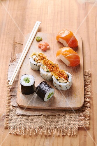 Salmon sushis and assortment of makis