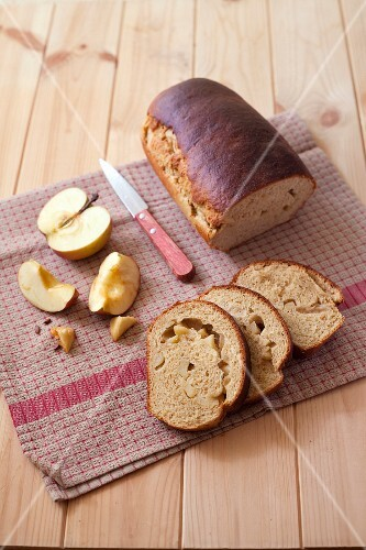 Rolled apple brioche loaf