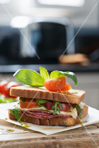 Italian-style sandwich with basil