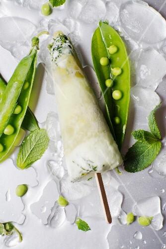 Pea and mint ice cream bar