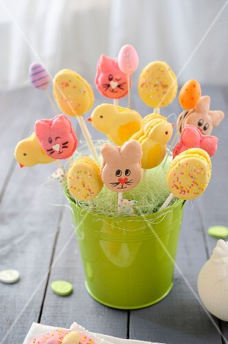 Macaroon lollies shaped like Easter bunnies, chicks and Easter eggs