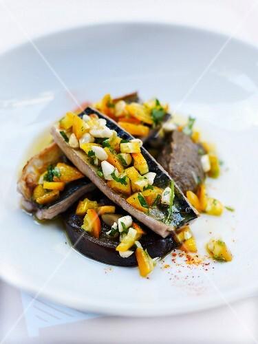 Mackerel fillets,eggplant caviar and kumquat dressing