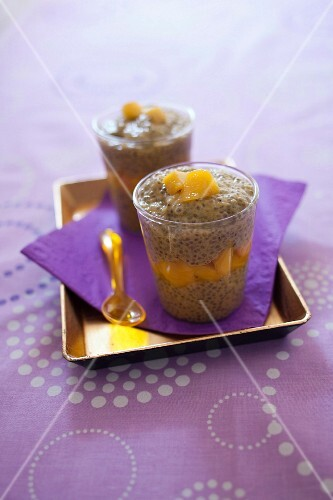 Chia seed,mango and coconut milk desserts