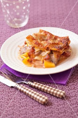 Pumpkin,camembert and mushroom lasagnes