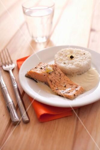 Salmon trout fillet in creamy green tea and lemon sauce,basmati rice