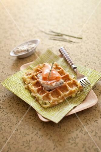 Potato and leek waffles